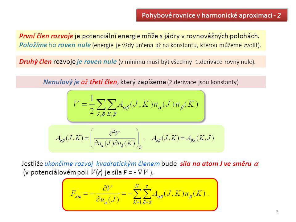 Pohybové rovnice v harmonické aproximaci - 2 První člen rozvoje je potenciální energie mříže s jádry v rovnovážných polohách. Položíme ho roven nule (