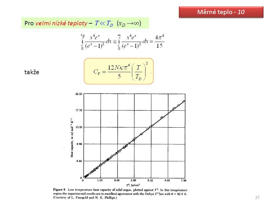 37 Měrné teplo - 10 Pro velmi nízké teploty – T ≪T D ( x D → ∞ ) takže
