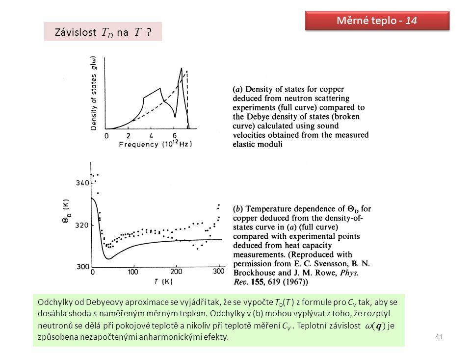 41 Měrné teplo - 14 Závislost T D na T ? Odchylky od Debyeovy aproximace se vyjádří tak, že se vypočte T D (T ) z formule pro C V tak, aby se dosáhla