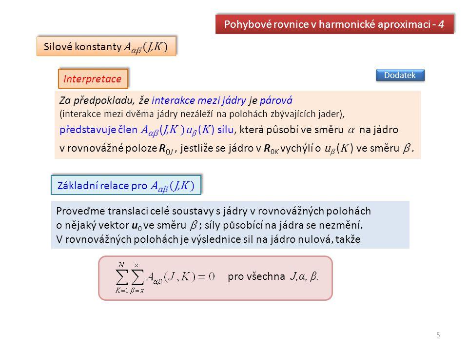 5 Pohybové rovnice v harmonické aproximaci - 4 Silové konstanty A αβ (J,K ) Za předpokladu, že interakce mezi jádry je párová (interakce mezi dvěma já