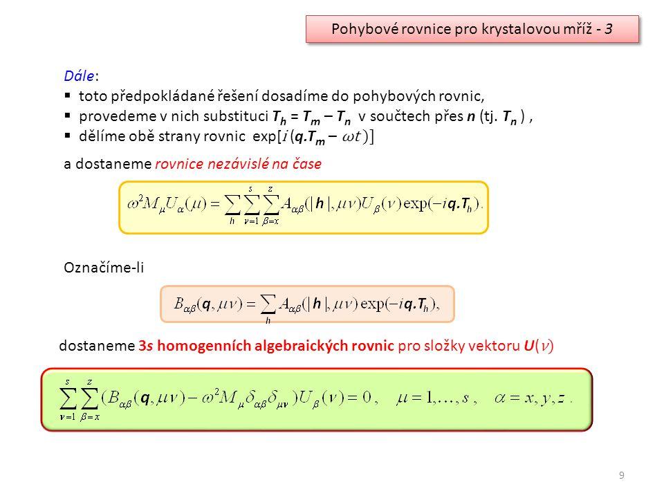 9 Pohybové rovnice pro krystalovou mříž - 3 Dále:  toto předpokládané řešení dosadíme do pohybových rovnic,  provedeme v nich substituci T h = T m –