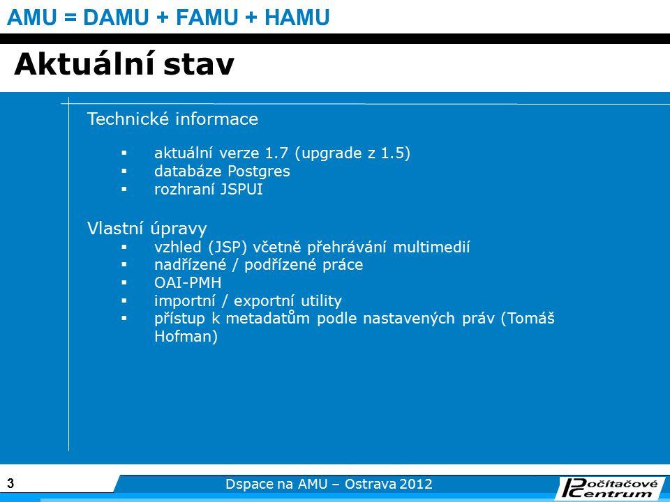 3 Dspace na AMU – Ostrava 2012 AMU = DAMU + FAMU + HAMU Aktuální stav Technické informace  aktuální verze 1.7 (upgrade z 1.5)  databáze Postgres  rozhraní JSPUI Vlastní úpravy  vzhled (JSP) včetně přehrávání multimedií  nadřízené / podřízené práce  OAI-PMH  importní / exportní utility  přístup k metadatům podle nastavených práv (Tomáš Hofman)