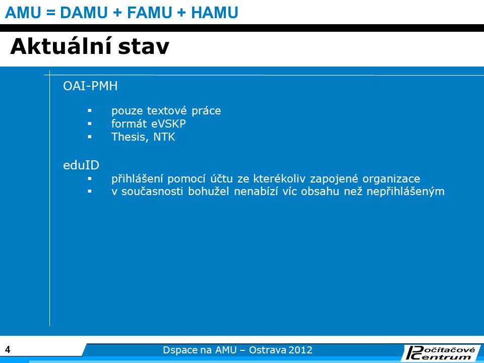 4 Dspace na AMU – Ostrava 2012 AMU = DAMU + FAMU + HAMU Aktuální stav OAI-PMH  pouze textové práce  formát eVSKP  Thesis, NTK eduID  přihlášení pomocí účtu ze kterékoliv zapojené organizace  v současnosti bohužel nenabízí víc obsahu než nepřihlášeným