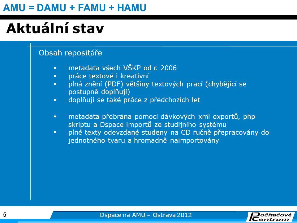 5 Dspace na AMU – Ostrava 2012 AMU = DAMU + FAMU + HAMU Aktuální stav Obsah repositáře  metadata všech VŠKP od r.