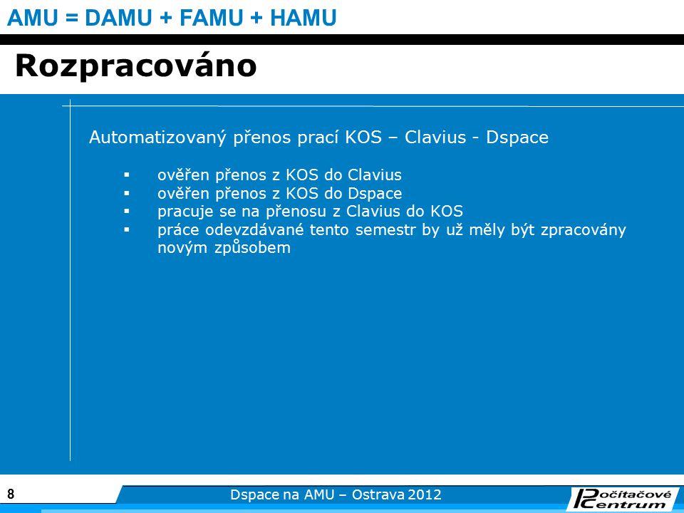 8 Dspace na AMU – Ostrava 2012 AMU = DAMU + FAMU + HAMU Rozpracováno Automatizovaný přenos prací KOS – Clavius - Dspace  ověřen přenos z KOS do Clavius  ověřen přenos z KOS do Dspace  pracuje se na přenosu z Clavius do KOS  práce odevzdávané tento semestr by už měly být zpracovány novým způsobem