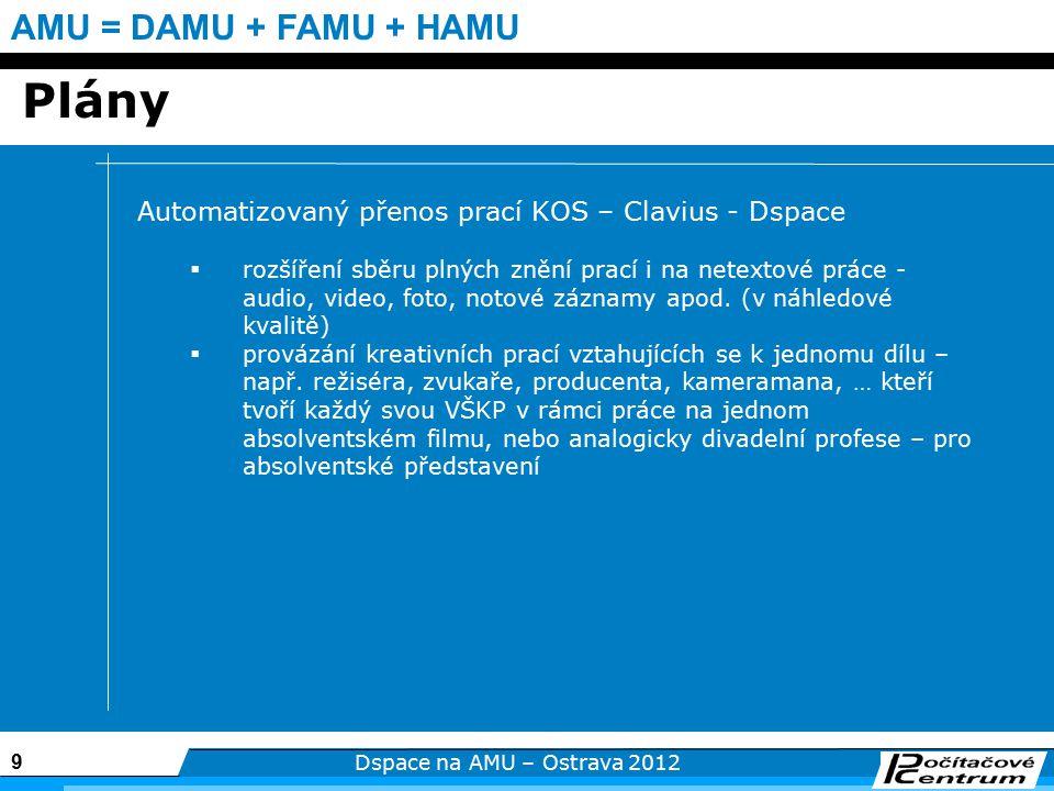9 Dspace na AMU – Ostrava 2012 AMU = DAMU + FAMU + HAMU Plány Automatizovaný přenos prací KOS – Clavius - Dspace  rozšíření sběru plných znění prací i na netextové práce - audio, video, foto, notové záznamy apod.