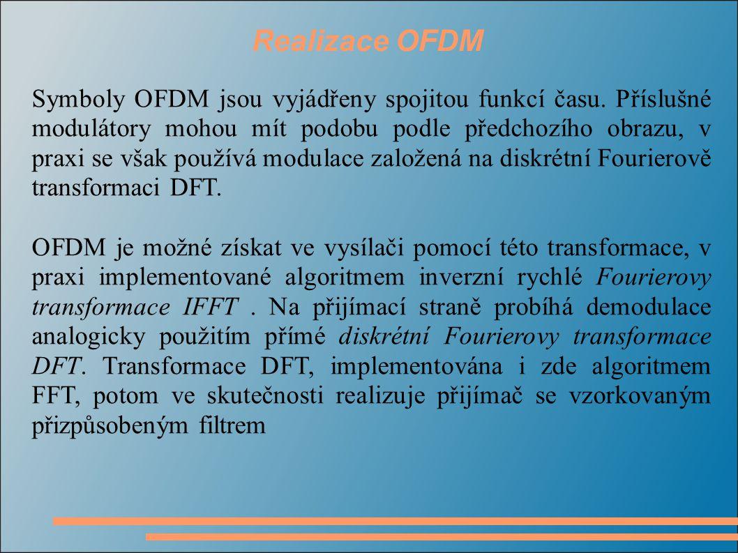 Realizace OFDM Symboly OFDM jsou vyjádřeny spojitou funkcí času.