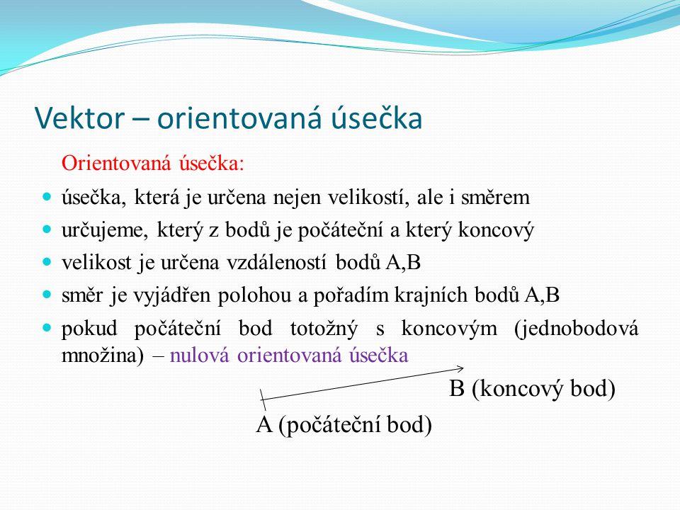 Vektor Vektor: je znázorněn orientovanou úsečkou všechny orientované úsečky, které mají stejnou velikost a stejný směr, znázorňují týž vektor stejné vektory různé vektory různé vektory