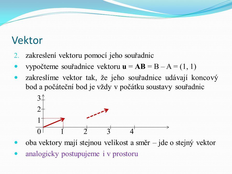 Vektor 2. zakreslení vektoru pomocí jeho souřadnic vypočteme souřadnice vektoru u = AB = B – A = (1, 1) zakreslíme vektor tak, že jeho souřadnice udáv
