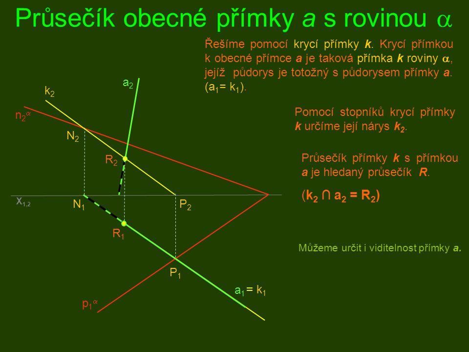 Průsečík obecné přímky a s rovinou  p1p1 n2n2 a1a1 a2a2 = p 1  = k 1 P1P1 P2P2 N2N2 N1N1 k2k2 R2R2 R1R1 Proložíme-li přímkou a promítací rovinu  kolmou k půdorysně, pak průnik této promítací roviny přímky a s danou rovinou  j e kk rycí přímka k.