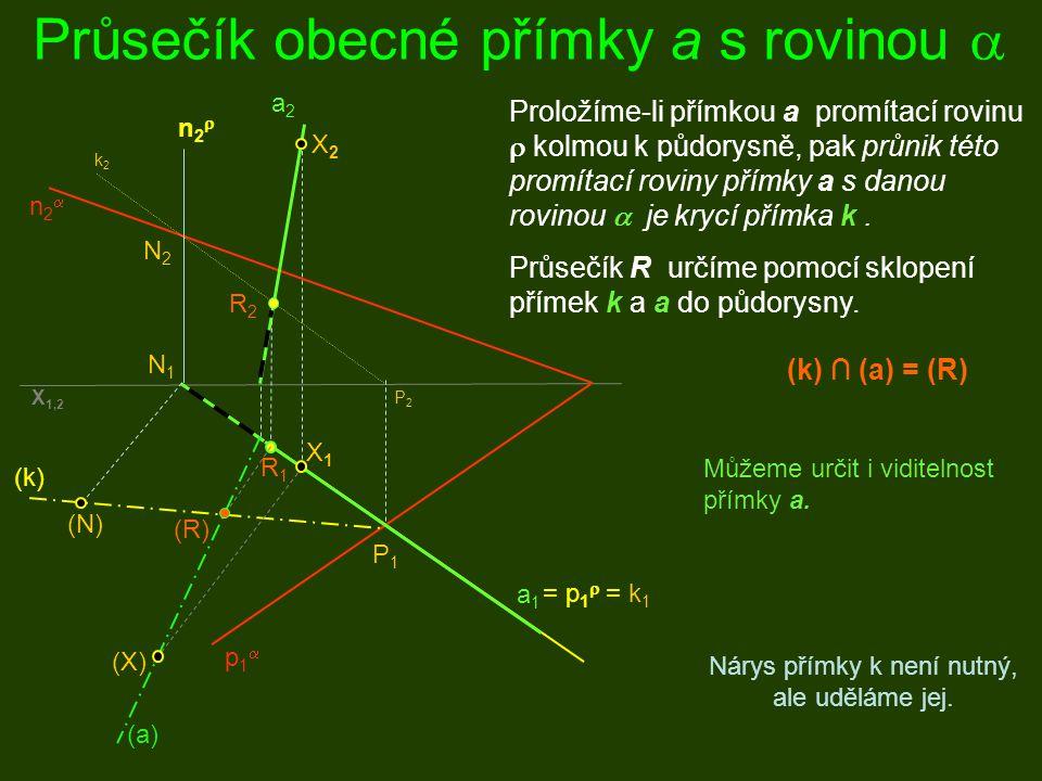Průsečík obecné přímky a s rovinou  p1p1 n2n2 a1a1 a2a2 = p 1  = k 1 P1P1 P2P2 N2N2 N1N1 k2k2 R2R2 R1R1 Proložíme-li přímkou a promítací rovinu