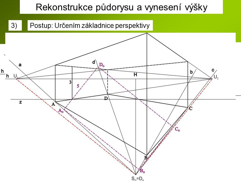 Rekonstrukce půdorysu a vynesení výšky 3)Postup: Určením základnice perspektivy