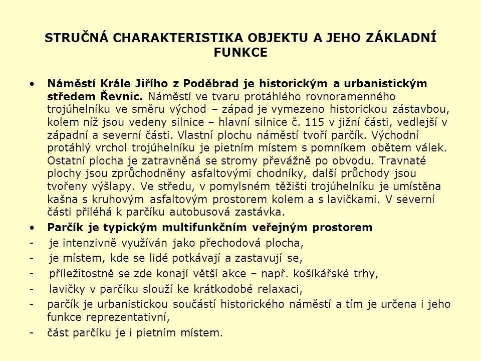 STRUČNÁ CHARAKTERISTIKA OBJEKTU A JEHO ZÁKLADNÍ FUNKCE Náměstí Krále Jiřího z Poděbrad je historickým a urbanistickým středem Řevnic.
