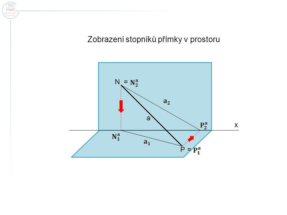 x Zobrazení stopníků přímky v prostoru N P a = =