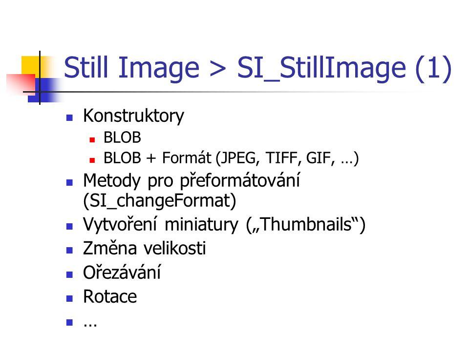 Still Image > SI_StillImage (1) Konstruktory BLOB BLOB + Formát (JPEG, TIFF, GIF, …) Metody pro přeformátování (SI_changeFormat) Vytvoření miniatury (