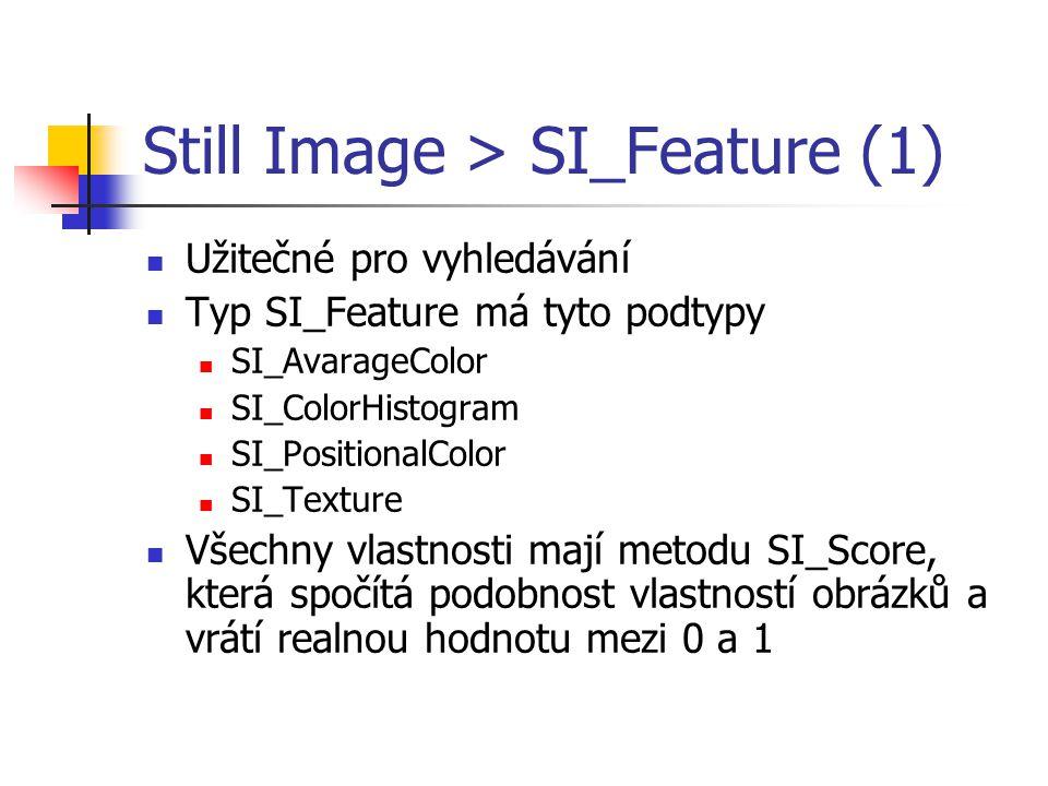 Still Image > SI_Feature (1) Užitečné pro vyhledávání Typ SI_Feature má tyto podtypy SI_AvarageColor SI_ColorHistogram SI_PositionalColor SI_Texture V