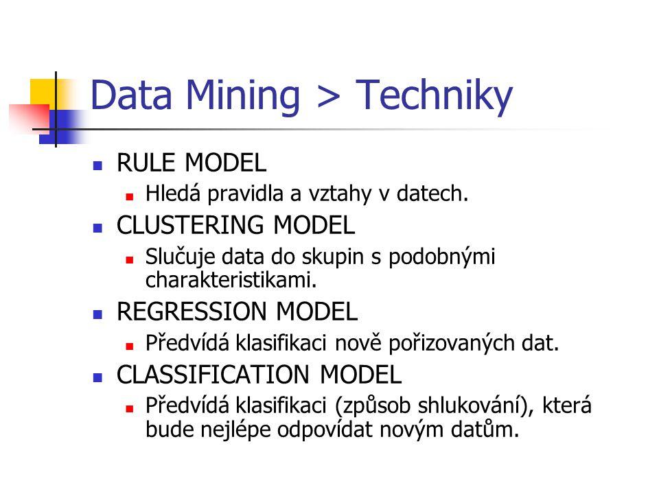 Data Mining > Techniky RULE MODEL Hledá pravidla a vztahy v datech. CLUSTERING MODEL Slučuje data do skupin s podobnými charakteristikami. REGRESSION