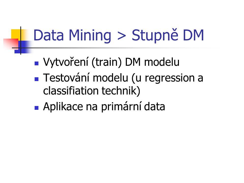 Data Mining > Stupně DM Vytvoření (train) DM modelu Testování modelu (u regression a classifiation technik) Aplikace na primární data