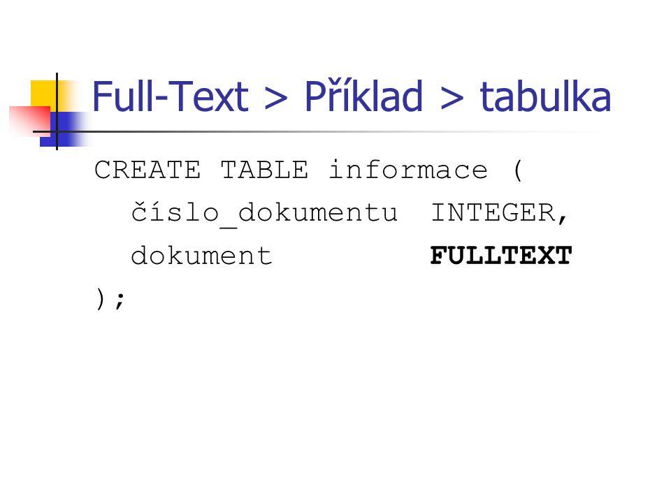 Full-Text > Příklad > tabulka CREATE TABLE informace ( číslo_dokumentuINTEGER, dokumentFULLTEXT );