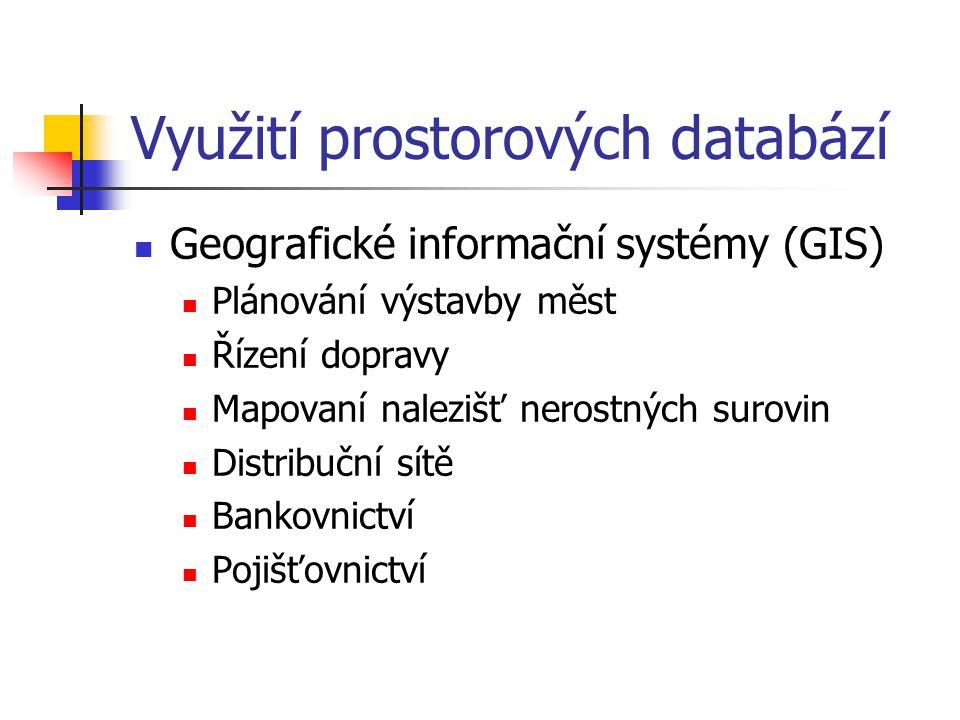 Využití prostorových databází Geografické informační systémy (GIS) Plánování výstavby měst Řízení dopravy Mapovaní nalezišť nerostných surovin Distrib