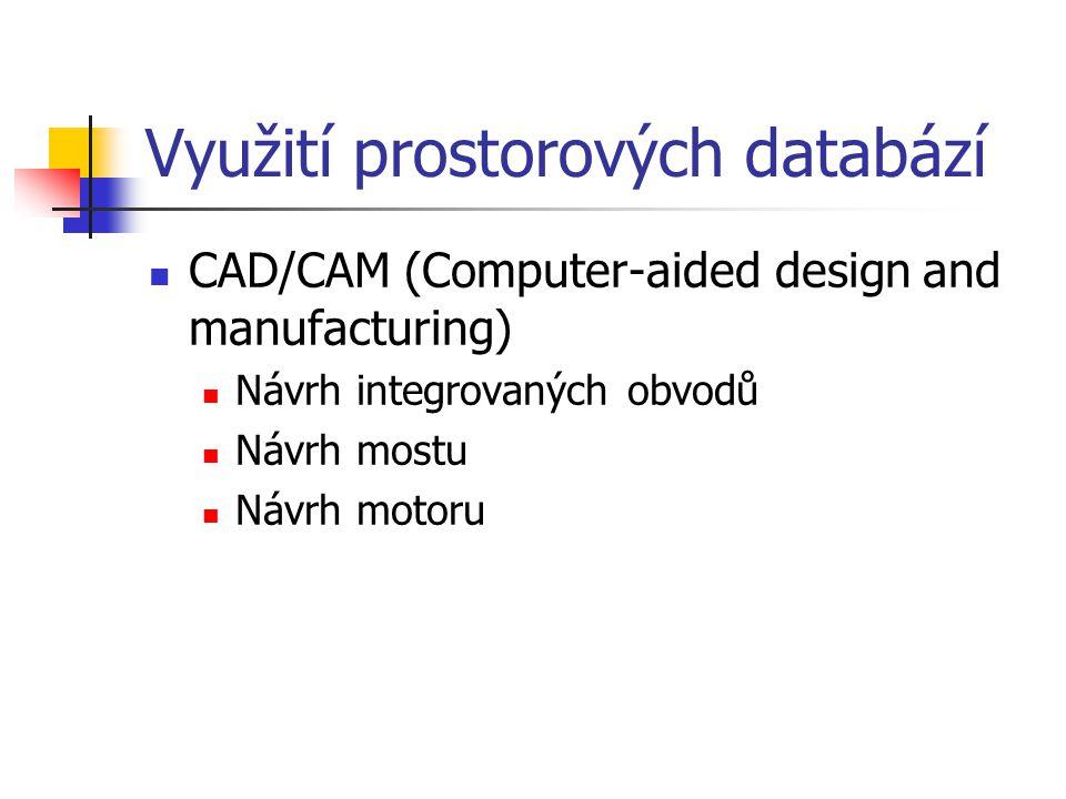 Využití prostorových databází CAD/CAM (Computer-aided design and manufacturing) Návrh integrovaných obvodů Návrh mostu Návrh motoru