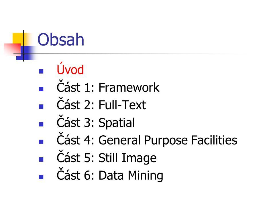 Shrnutí SQL-MM Spatial Standardizuje ukládání, výběr, dotazování a aktualizaci prostorových objektů Definuje množinu typů a metod pro reprezentaci 0, 1 a 2 dimenzionálních prostorových objektů Připravuje se druhá verze standardu