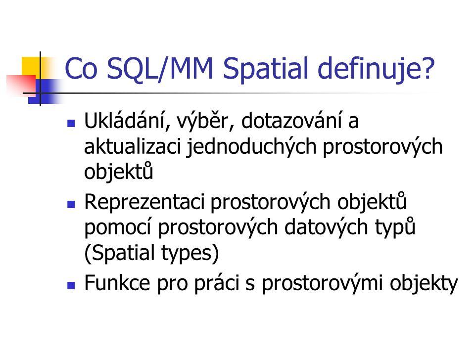 Co SQL/MM Spatial definuje? Ukládání, výběr, dotazování a aktualizaci jednoduchých prostorových objektů Reprezentaci prostorových objektů pomocí prost