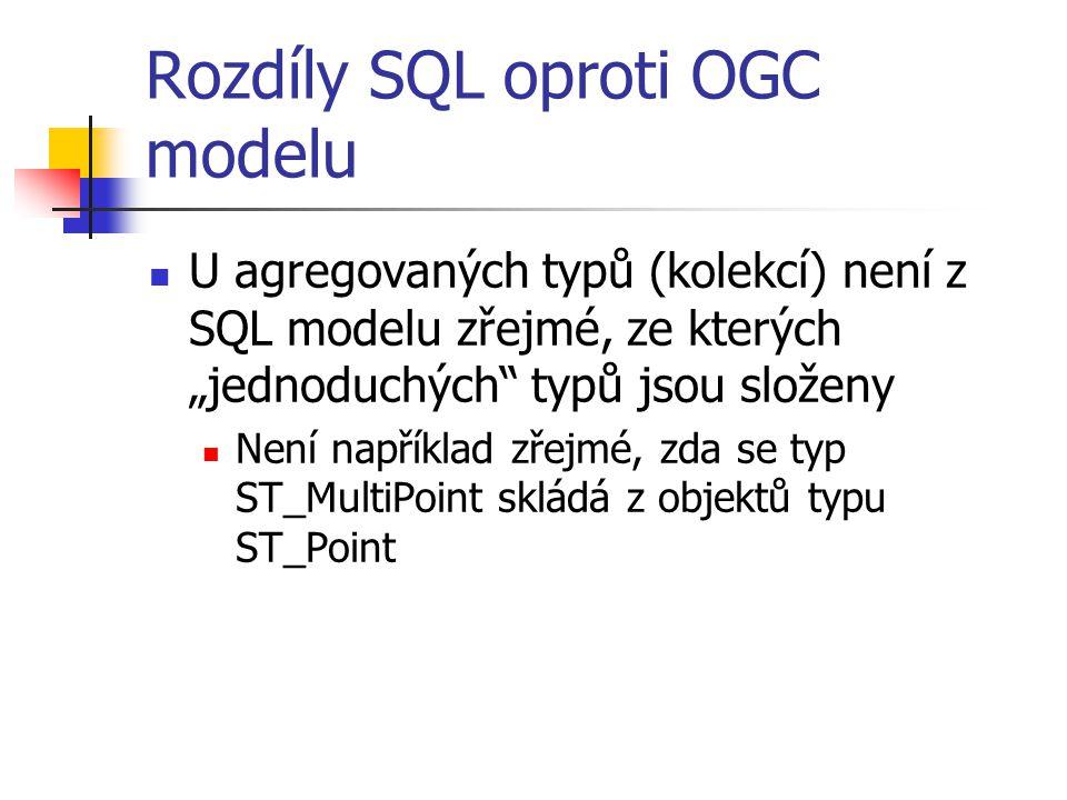 """Rozdíly SQL oproti OGC modelu U agregovaných typů (kolekcí) není z SQL modelu zřejmé, ze kterých """"jednoduchých"""" typů jsou složeny Není například zřejm"""