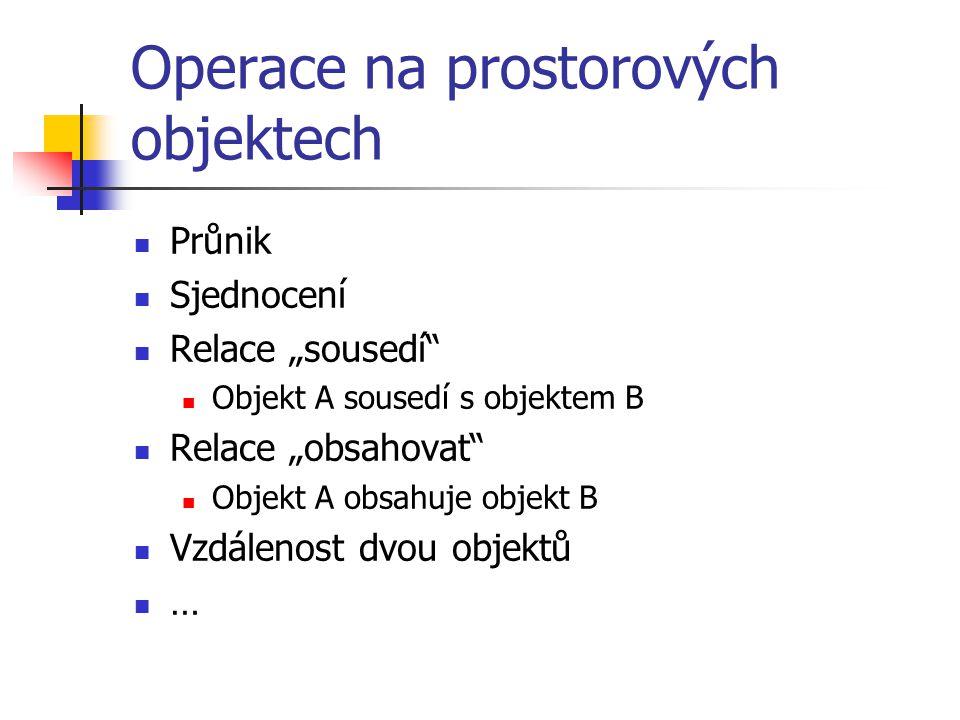 """Operace na prostorových objektech Průnik Sjednocení Relace """"sousedí"""" Objekt A sousedí s objektem B Relace """"obsahovat"""" Objekt A obsahuje objekt B Vzdál"""