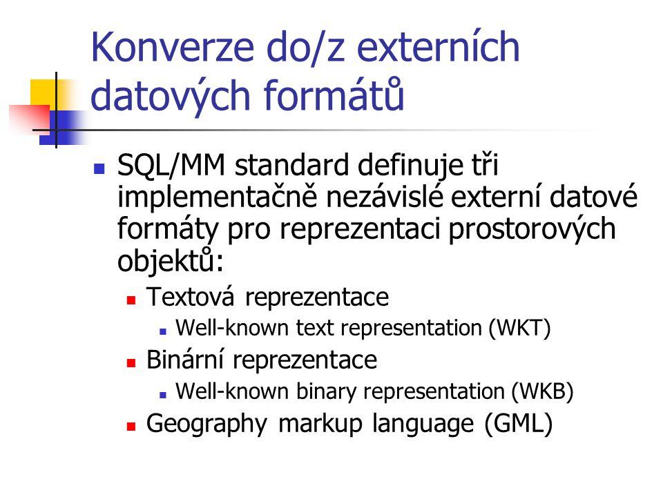 Konverze do/z externích datových formátů SQL/MM standard definuje tři implementačně nezávislé externí datové formáty pro reprezentaci prostorových obj