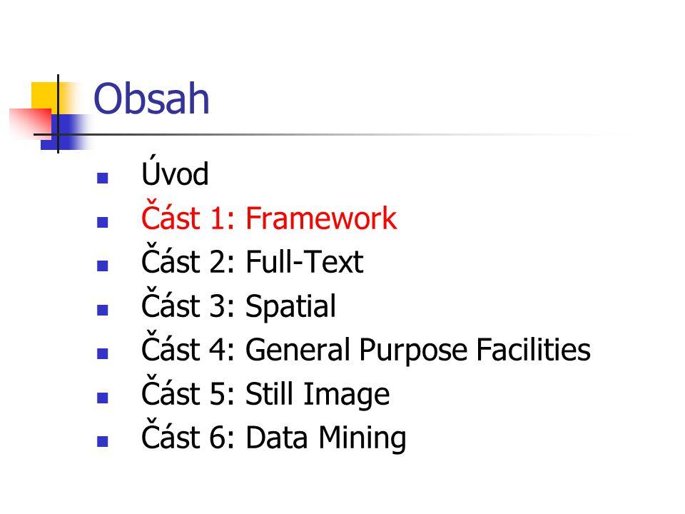 """Framework Jednotlivé části SQL/MM jsou na sobě poměrně nezávislé Framework je část společná a závazná """"zbytku světa Poskytuje: definici společného konceptu užitého v dalších částech SQL/MM hlavní rysy přístupu k definici těchto částí"""