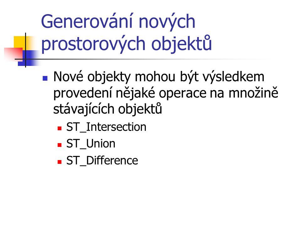 Generování nových prostorových objektů Nové objekty mohou být výsledkem provedení nějaké operace na množině stávajících objektů ST_Intersection ST_Uni