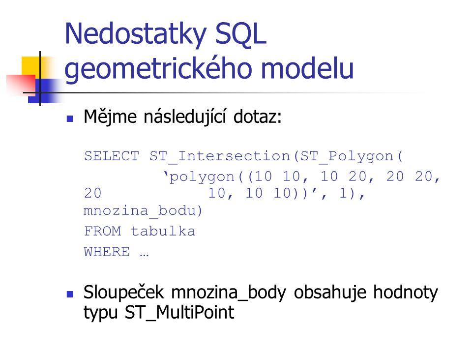 Nedostatky SQL geometrického modelu Mějme následující dotaz: SELECT ST_Intersection(ST_Polygon( 'polygon((10 10, 10 20, 20 20, 20 10, 10 10))', 1), mn