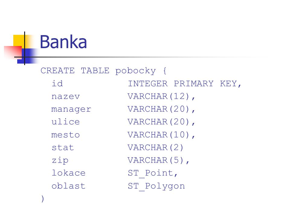 Banka CREATE TABLE pobocky { idINTEGER PRIMARY KEY, nazevVARCHAR(12), managerVARCHAR(20), uliceVARCHAR(20), mestoVARCHAR(10), statVARCHAR(2) zipVARCHA