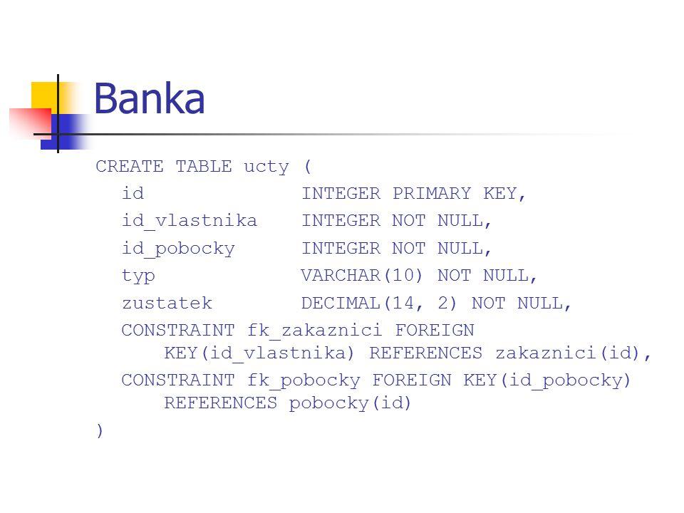Banka CREATE TABLE ucty ( idINTEGER PRIMARY KEY, id_vlastnikaINTEGER NOT NULL, id_pobockyINTEGER NOT NULL, typVARCHAR(10) NOT NULL, zustatekDECIMAL(14