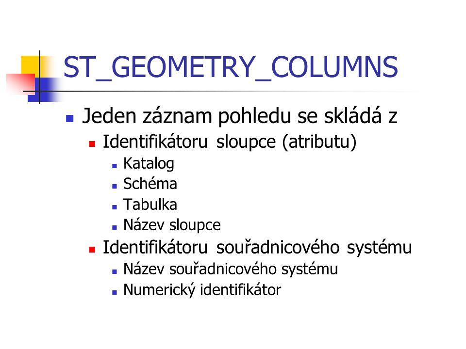 ST_GEOMETRY_COLUMNS Jeden záznam pohledu se skládá z Identifikátoru sloupce (atributu) Katalog Schéma Tabulka Název sloupce Identifikátoru souřadnicov