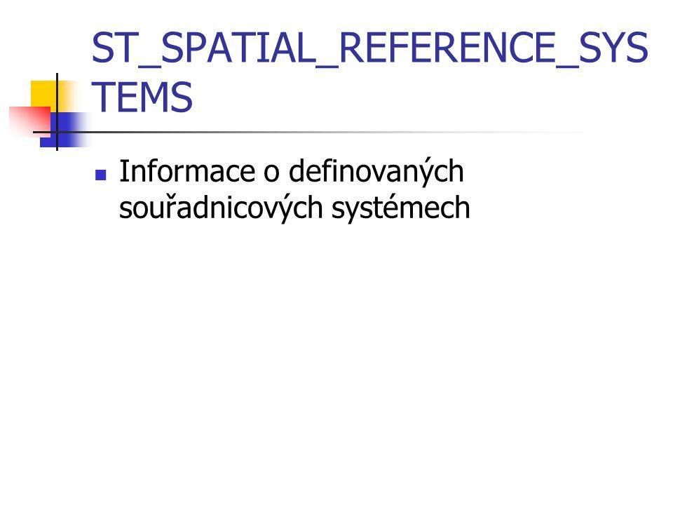 ST_SPATIAL_REFERENCE_SYS TEMS Informace o definovaných souřadnicových systémech