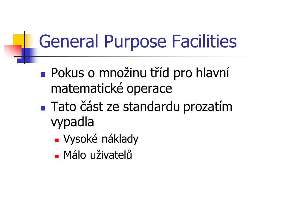 General Purpose Facilities Pokus o množinu tříd pro hlavní matematické operace Tato část ze standardu prozatím vypadla Vysoké náklady Málo uživatelů