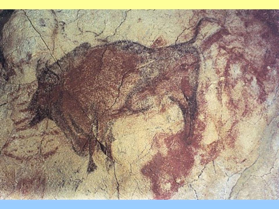 LASCAUX v jihozápadní Francii několik set rytin a maleb otisky lidských rukou na stěnách jeskyní, křivky kreslené prsty ponořenými do barvy Síň býků - lovec napadený bizonem, ohromné postavy býků, bizonů, jelenů PECH-MERL: malby a otisky rukou (ruka jako šablona, barvivo nanášeno přes ni)