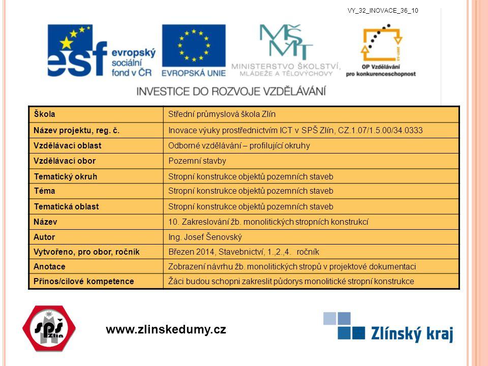 www.zlinskedumy.cz VY_32_INOVACE_36_10 ŠkolaStřední průmyslová škola Zlín Název projektu, reg.