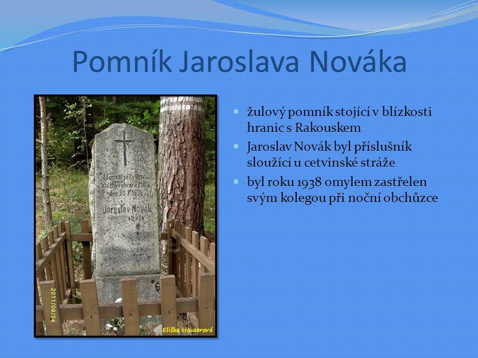 Pomník Jaroslava Nováka žulový pomník stojící v blízkosti hranic s Rakouskem Jaroslav Novák byl příslušník sloužící u cetvinské stráže byl roku 1938 omylem zastřelen svým kolegou při noční obchůzce