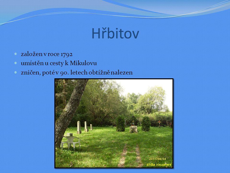 Hřbitov založen v roce 1792 umístěn u cesty k Mikulovu zničen, poté v 90. letech obtížně nalezen