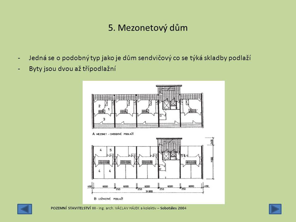 5. Mezonetový dům -Jedná se o podobný typ jako je dům sendvičový co se týká skladby podlaží -Byty jsou dvou až třípodlažní POZEMNÍ STAVITELSTVÍ III -
