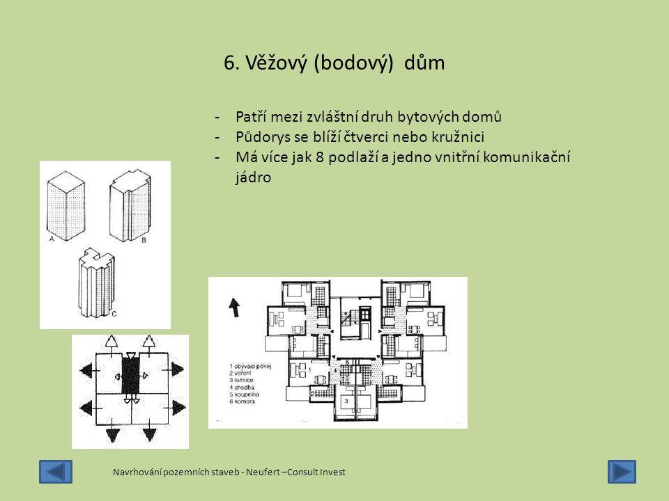 6. Věžový (bodový) dům -Patří mezi zvláštní druh bytových domů -Půdorys se blíží čtverci nebo kružnici -Má více jak 8 podlaží a jedno vnitřní komunika