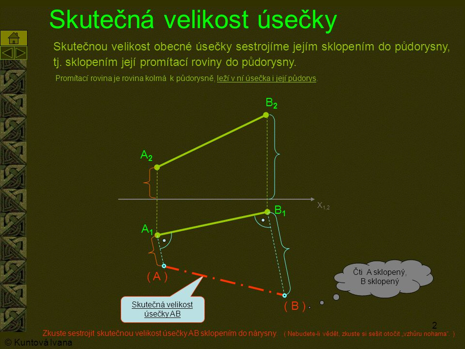 2 Skutečná velikost úsečky Skutečnou velikost obecné úsečky sestrojíme jejím sklopením do půdorysny, tj.