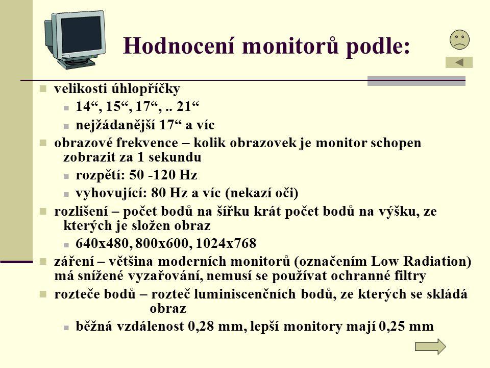"""Hodnocení monitorů podle: velikosti úhlopříčky 14"""", 15"""", 17"""",.. 21"""" nejžádanější 17"""" a víc obrazové frekvence – kolik obrazovek je monitor schopen zob"""