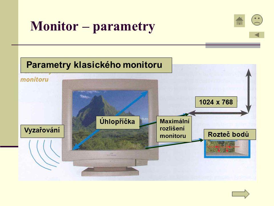 Monitor – parametry Parametry klasického monitoru 1024 x 768 Vyzařování Úhlopříčka Rozteč bodů Maximální rozlišení monitoru