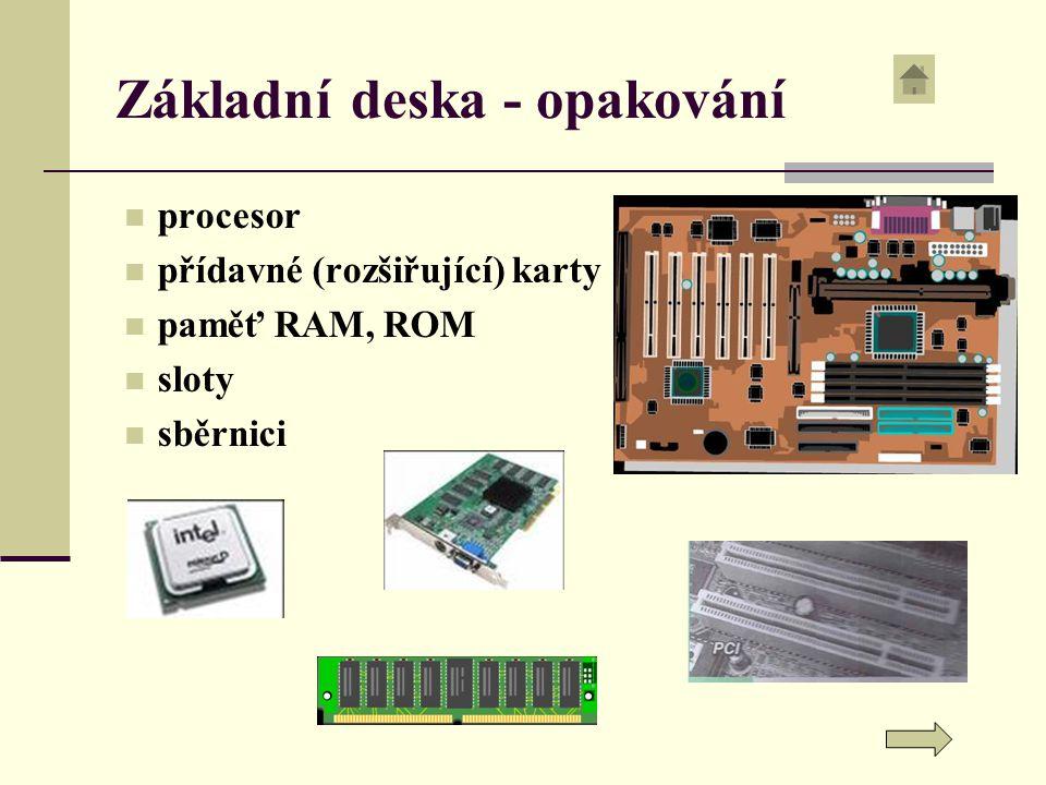 Základní deska - opakování procesor přídavné (rozšiřující) karty paměť RAM, ROM sloty sběrnici