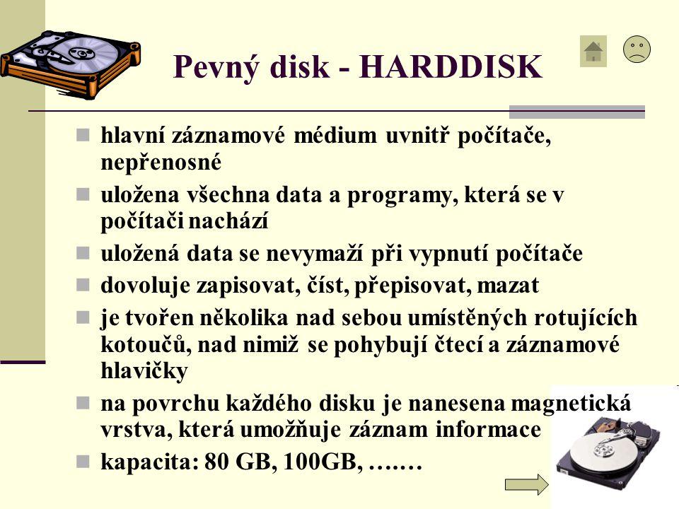 Pevný disk - HARDDISK hlavní záznamové médium uvnitř počítače, nepřenosné uložena všechna data a programy, která se v počítači nachází uložená data se