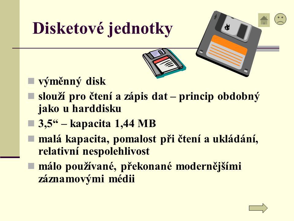 """Disketové jednotky výměnný disk slouží pro čtení a zápis dat – princip obdobný jako u harddisku 3,5"""" – kapacita 1,44 MB malá kapacita, pomalost při čt"""